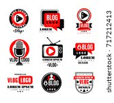 vlog and blog logo design set ... | Shutterstock .eps vector #717212413
