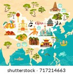 china illustrated map  hand... | Shutterstock .eps vector #717214663