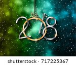 2018 happy new year background... | Shutterstock .eps vector #717225367