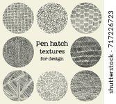 pen hatch round grunge textures | Shutterstock .eps vector #717226723