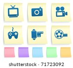 media icons on post it note... | Shutterstock .eps vector #71723092