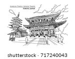 perspective of asakusa temple... | Shutterstock .eps vector #717240043