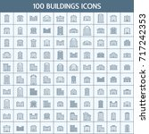simple set of buildings related ... | Shutterstock .eps vector #717242353