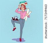 pop art multitasking business... | Shutterstock .eps vector #717249463