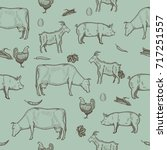 farm seamless pattern with... | Shutterstock .eps vector #717251557