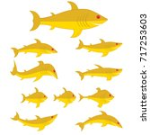 collection of goldfish. set of... | Shutterstock .eps vector #717253603