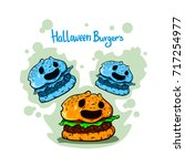 funny and cute burger for... | Shutterstock .eps vector #717254977
