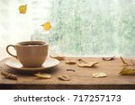 cup of autumn tea  coffee ... | Shutterstock . vector #717257173