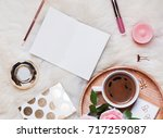 empty notepad  coffee roses and ... | Shutterstock . vector #717259087
