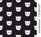 tile vector pattern with cats... | Shutterstock .eps vector #717264187