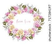 beautiful watercolor wreath... | Shutterstock . vector #717284197