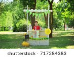cute little boy waiting for... | Shutterstock . vector #717284383