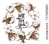 wildflower cotton flower wreath ... | Shutterstock . vector #717285883
