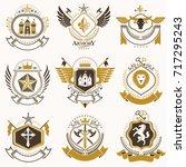 vector classy heraldic coat of... | Shutterstock .eps vector #717295243