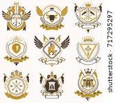 vector classy heraldic coat of... | Shutterstock .eps vector #717295297