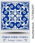 vintage ceramic tile in azulejo ... | Shutterstock .eps vector #717304297