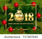 shiny background with christmas ... | Shutterstock .eps vector #717307033