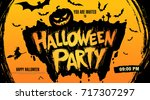 halloween party. vector... | Shutterstock .eps vector #717307297