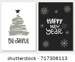 set of two hand drawn christmas ...   Shutterstock .eps vector #717308113