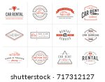 set of raster car rental... | Shutterstock . vector #717312127