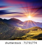 Stock photo majestic sunset in the mountains landscape hdr image 71731774