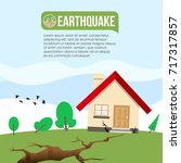 earthquake disaster with ground ... | Shutterstock .eps vector #717317857