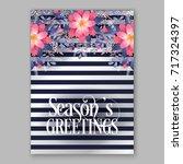 peony  poinsettia  anemone pine ... | Shutterstock .eps vector #717324397