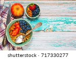 organic breakfast for healthy... | Shutterstock . vector #717330277