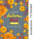 autumn sale flyer. vertical... | Shutterstock .eps vector #717341683