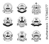 royal crowns emblems set.... | Shutterstock .eps vector #717360277