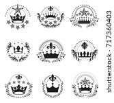 royal crowns emblems set.... | Shutterstock .eps vector #717360403