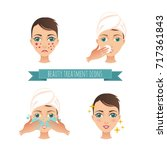 beauty care illustration  acne... | Shutterstock .eps vector #717361843