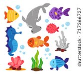 sea animals collection | Shutterstock .eps vector #717366727