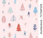 christmas seamless pattern in... | Shutterstock .eps vector #717369103