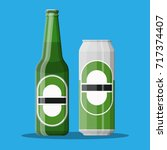bottle and can of beer. beer...   Shutterstock .eps vector #717374407