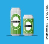 can of beer in large and small... | Shutterstock .eps vector #717374503
