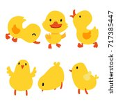 chick and duck collection | Shutterstock .eps vector #717385447