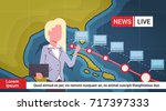 woman reporter leading life... | Shutterstock .eps vector #717397333