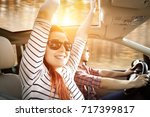 autumn road and two lovers on... | Shutterstock . vector #717399817