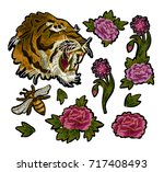 tiger  bee and peony flowers... | Shutterstock .eps vector #717408493