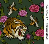 tiger  bee and peony flowers... | Shutterstock .eps vector #717408793