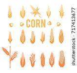 corn icons.vegetarian cuisine... | Shutterstock .eps vector #717413677