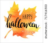 halloween card with watercolor... | Shutterstock .eps vector #717416503