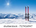 Pair Of Skis In Snow With Copy...