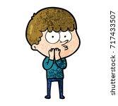 cartoon curious boy   Shutterstock .eps vector #717433507
