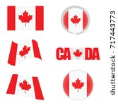 canada flag icon illustration... | Shutterstock .eps vector #717443773