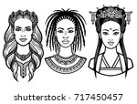 set of portraits of young... | Shutterstock .eps vector #717450457