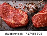 raw fresh marbled meat beef... | Shutterstock . vector #717455803