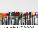 Row Of Artist Paintbrushes Wit...