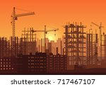 tower cranes on construction... | Shutterstock .eps vector #717467107